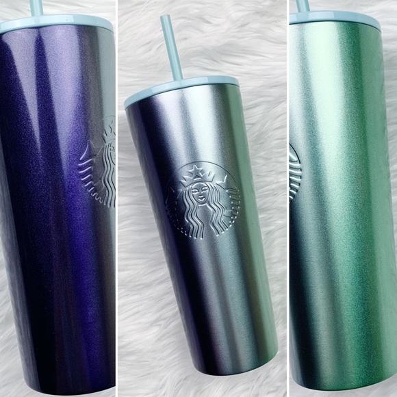 Starbucks Glitter Ombre Purple Silver Green Cup